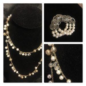 Vintage, Necklace and 3 strand pearl bracelet set